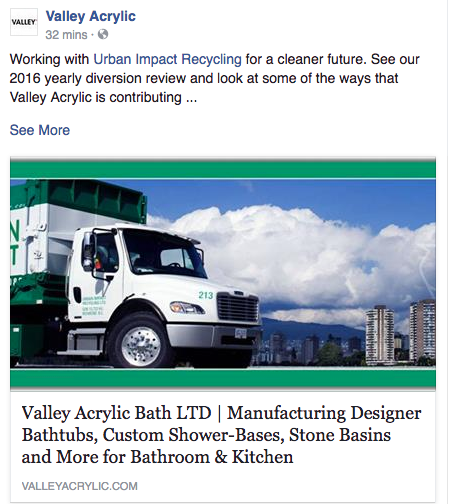Valley Acrylic mentions UI in Facebook Post