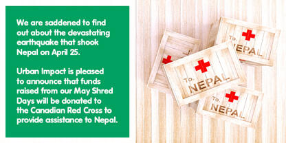 May Shred Days, Richmond + Calgary proceeds will be donated to the disaster relief efforts in Nepal.